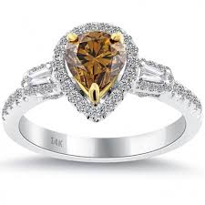 Chocolate Diamond Wedding Rings by 1 55 Carat Natural Fancy Cognac Brown Diamond Engagement Ring 14k