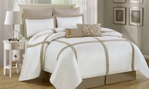 Beige Comforter Luxury Home 8 Piece Block Comforter Set White Neutral Beige