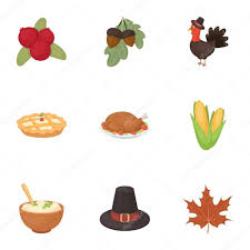 canadian thanksgiving day set icons in style big