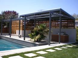 exterior grey wooden pool patio shade combined with half wooden