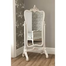 Full Length Mirror Jewelry Storage Decorating Wrought Iron Cheval Mirror With Wooden Floor And Cream