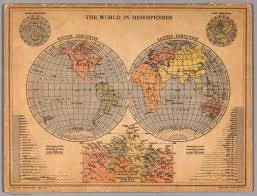 World Map With Hemispheres by The World In Hemispheres David Rumsey Historical Map Collection