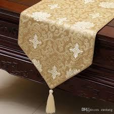 short length happy flower table runner luxury fashion silk brocade