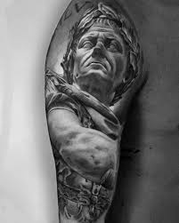 guy with roman statue tattoo half sleeve design tatt u0027s