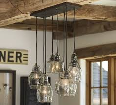 how to make a barn light fixture paxton glass 8 light pendant pottery barn