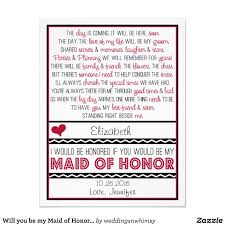 Matron Of Honor Poem Will You Be My Maid Of Honor Red Black Sweet Sentimental Poem