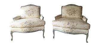 vintage used white bergere chairs chairish floral chintz louis xv rococo cabriole style bergere chairs a pair