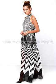 lines black and ivory striped maxi dress