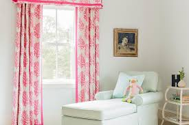 Pink And White Curtains For Nursery Nursery With Chaise Lounge Transitional Nursery