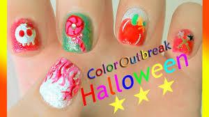 halloween nail art designs cute pretty pink fire skull hair