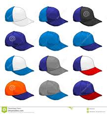 Colors Combinations Blue Cap Vector Variety Of Color Combinations Cap Template Stock