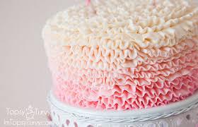 ombre ruffled buttercream cake ashlee marie