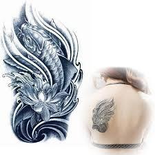 black koi with lotus flower designs tattoos temporary tattoo