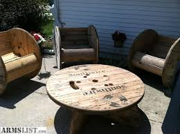 outdoor tables made out of wooden wire spools touret touret bois pinterest rustic patio google images and
