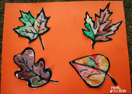 fall craft black glue and salt leaves mess for less