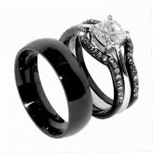 black wedding rings his and hers black wedding ring sets his and hers jewelry design ideas