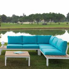 canapé d angle de jardin canapé d angle contemporain de jardin en tissu niza arkimueble