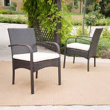 outdoor cordoba wicker dining chair with cushions set of 2 by