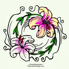 lily flower tattoo design yin yang style