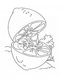 lemon cut fruit coloring page for kids fruits coloring pages