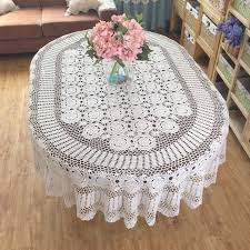 Coffee Table Linens by Gorgeous Hand Crochet Tablecloth Oval Huge Size Handmade