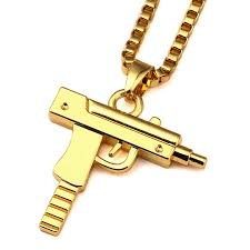 aliexpress necklace pendants images Cool design stainless steel gold covered men uzi gun pendant jpg