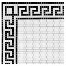 Border Tiles For Bathroom Merola Tile Metro Greek Key Matte White And Black Border 8 In X