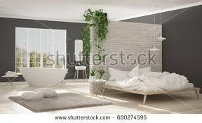 Open Space Bedroom Design Scandinavian White Minimalist Bathroom Bedroom Open Stock