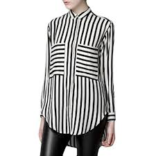 black and white striped blouse locomolife black white big pocket vertical horizontal