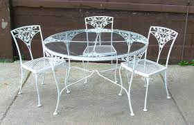 Retro Patio Furniture Sets Dining Table Fascinating Round White Wrought Iron Outdoor Table
