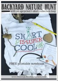 backyard nature hunt with printable and t shirt bag tutorial