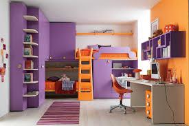 built in bunk beds kids bedroom cheerful violet orange kid bedroom decoration