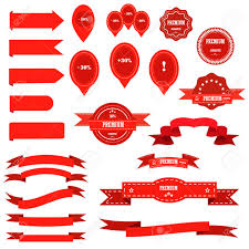 ribbon retro graphic blank celebration banner and sale labels