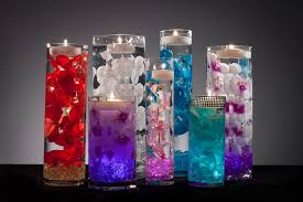 Cylinder Floating Candle Vase Set Of 3 Centerpieces With Led Lights And Floating Candles