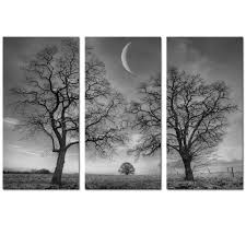 amazon com black and white moon canvas wall art decor winter