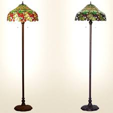green stained glass shade metal fixture two light floor lamps