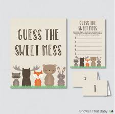 woodland baby shower diaper candy bar game printable guess the