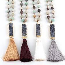 real stone necklace images Amazonite natural stone tassel necklace with druzy pendent jpg