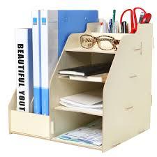 amazon com wood board desktop organizer rack w 2 document magazine