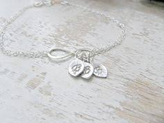 Infinity Bracelet With Initials Personalized Initial Infinity Bracelet Birthstone Bracelet Silver