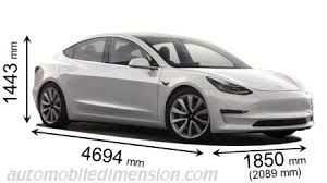 dimensions of tesla cars showing length width and height