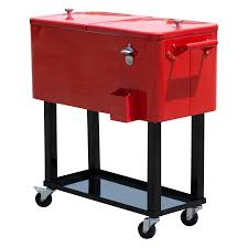 patio beverage cooler cart outsunny 80 qt rolling chest portable patio drink