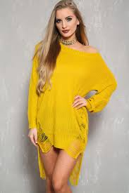 marigold long sleeve high low hem distress sweater dress