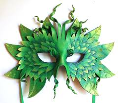 Green Man Halloween Costume Forest Greenman Mask Handmade Leather Mask Masks