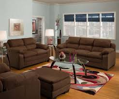 Upholstered Loveseat Chairs Simmons Upholstery 5068 Velocity Microfiber Sofa Top Brown Ottoman