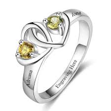 mothers rings 2 stones 2 locked hearts mothers ring or promise ring think engraved