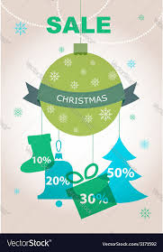 discount decorations large christmas sale decorations with discount vector image