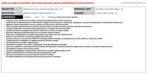 Sample Resume For Encoder by Home Economics Teacher Job Title Docs