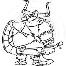 cartoon viking black and white line art by ron leishman toon