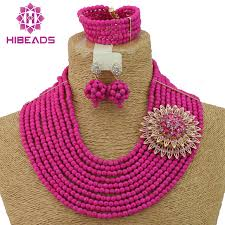 pink beads necklace images Fashion fuchsia pink nigerian wedding beads jewelry set indian jpg
